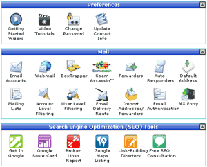Hosting control panel.  cPanel from HostGator