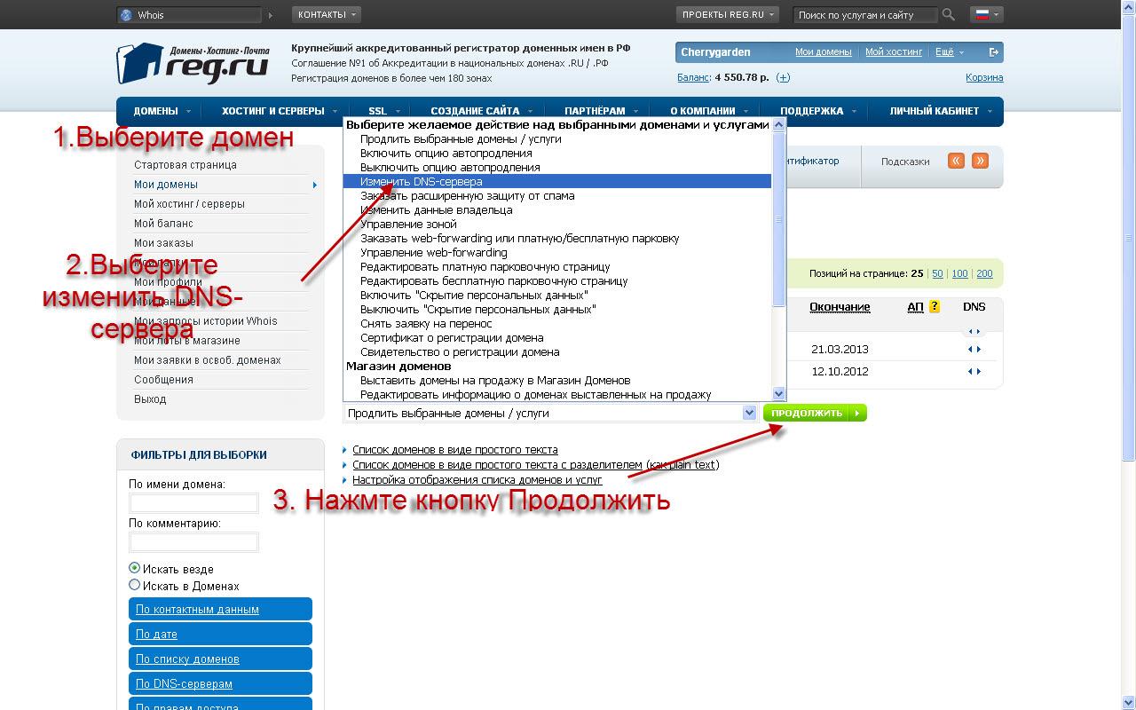 как узнать хостинг домена